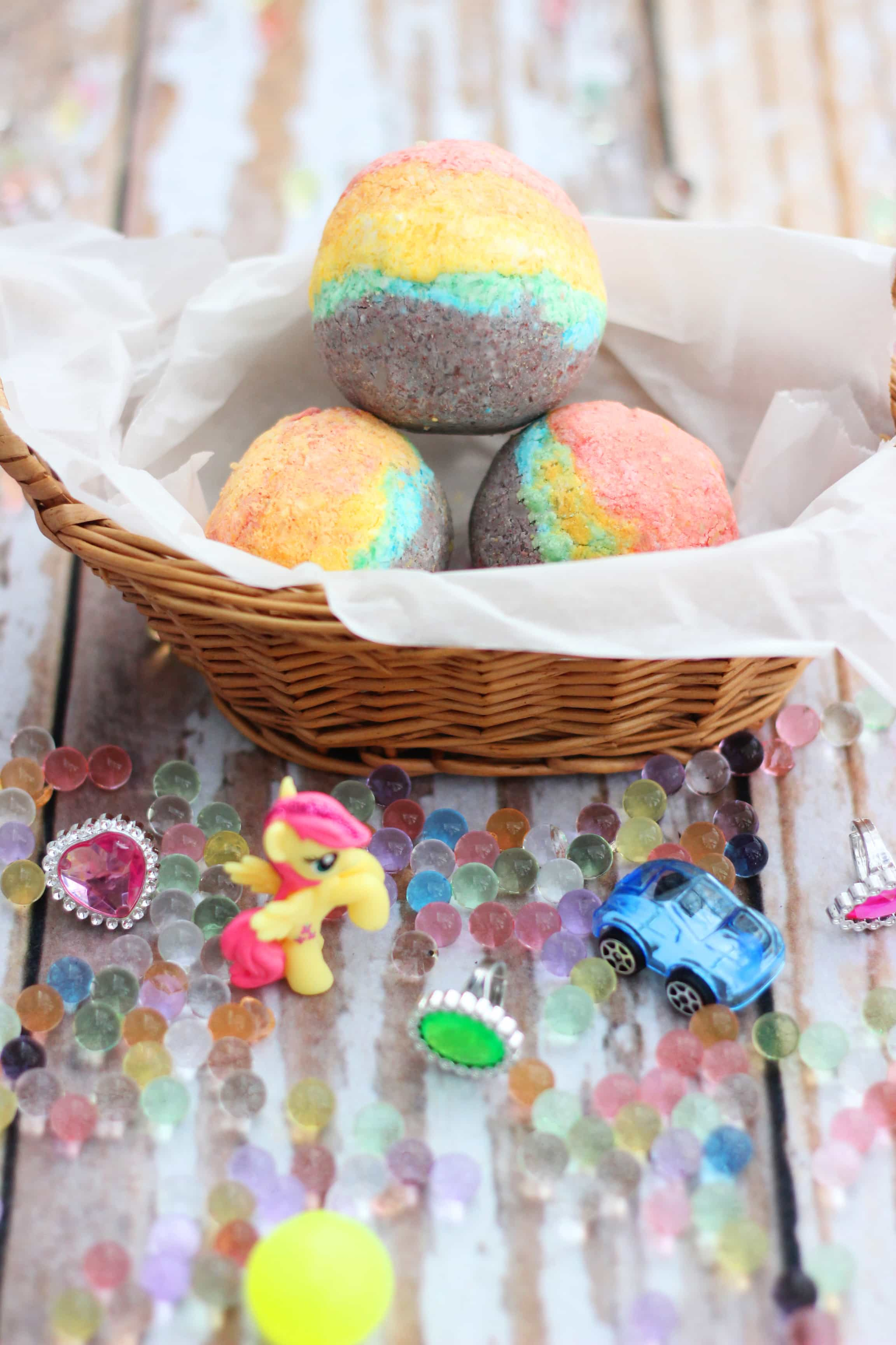 Homemade Rainbow Bath Bombs For Kids With Toys Inside