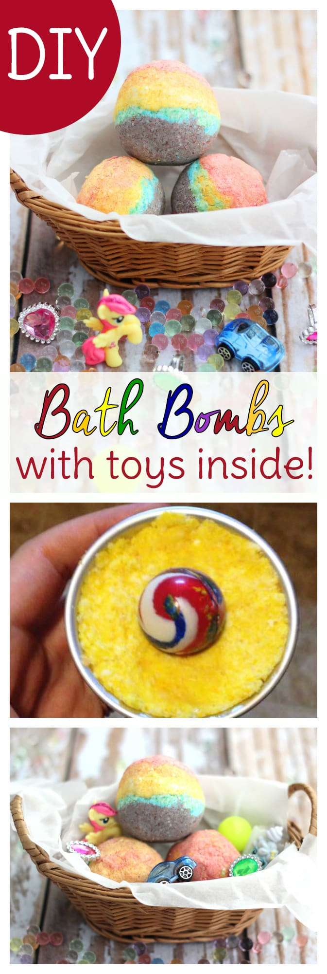 These homemade rainbow bath bombs for kids to make have toy surprises inside! Inspired by a homemade Lush bath bombs recipe, these relaxing bath bombs for kids use essential oils to help kids calm down before bedtime. These are easy homemade bath bombs kids will enjoy creating with you!