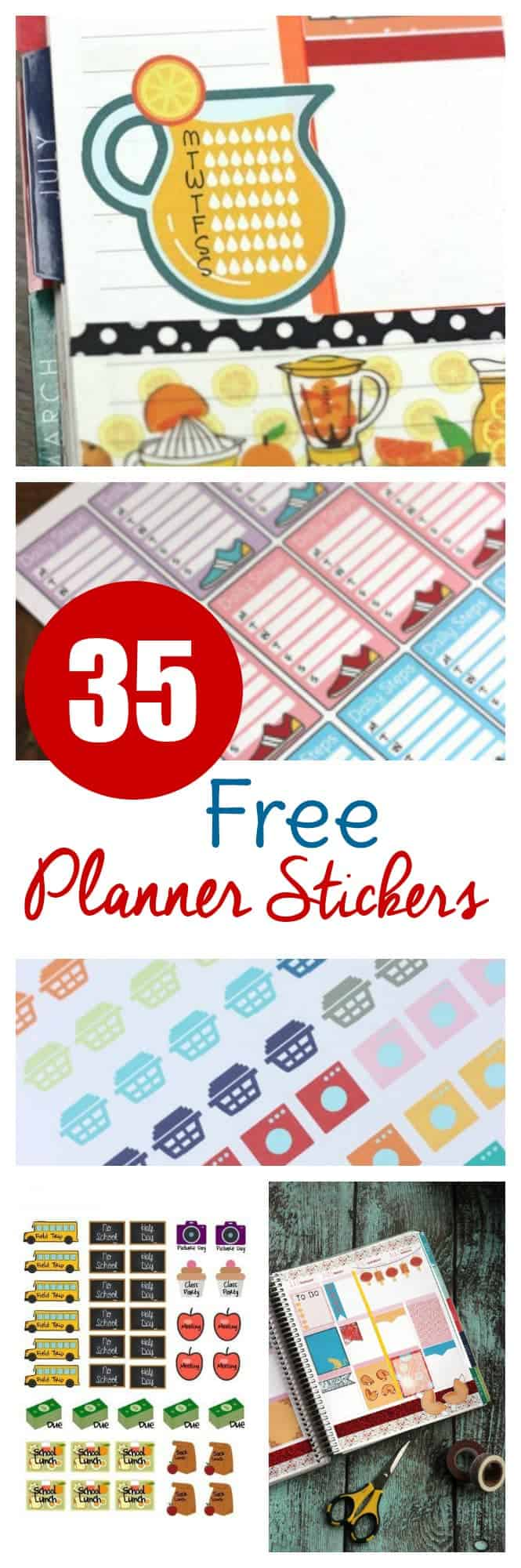 Check out these 35 different sets of free printable planner stickers! Perfect to print and cut or use with machine for your ECLP, Happy Planner, and more!