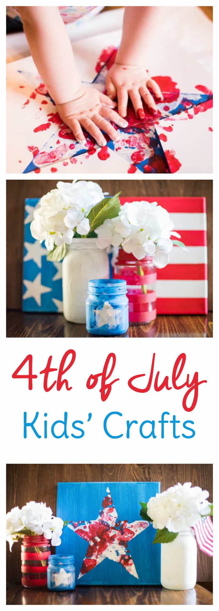 Get your red, white, and blue on while making these 4th of July crafts for kids with your little ones. Combine the American flag crafts kids can make with the messy fun of the 4th of July crafts for preschoolers to make a beautiful patriotic tabletop setting or home decor set.