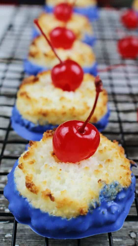 If you're looking for Memorial Day food or 4th of July food, check out these fun patriotic desserts! Coconut Macaroon Cherry Bombs incorporate red, white, and blue in the tastiest of ways.