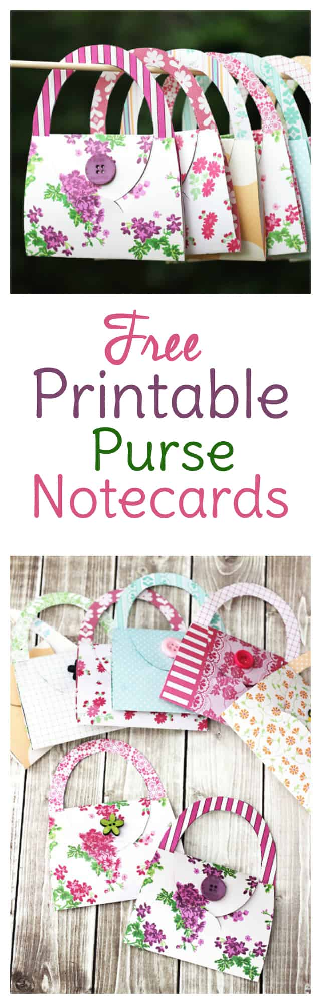 Need fresh card making ideas? Try this free card making template to make these adorable cards that look like purses!