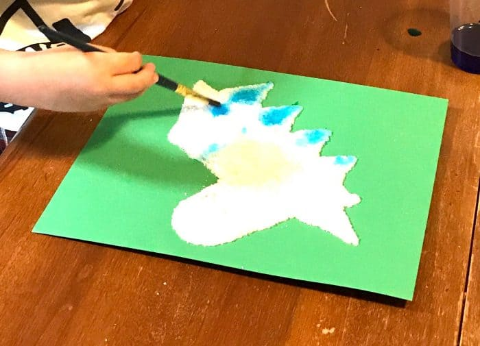 Watercolor Salt Painting Unicorn Craft for Kids with free printable template!