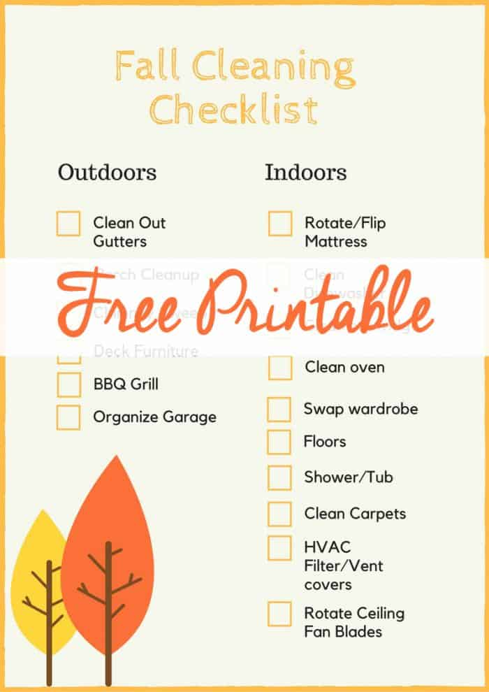 Grab this fall cleaning checklist free printable and have your home spic and span in time for autumn!