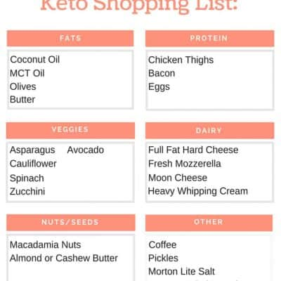 If you're doing specific recipes for your keto meal plan, you'll likely make your own keto diet shopping list. This beginner keto grocery list printable is more like a cheat sheet. Use it as a quick start guide to get going right away.