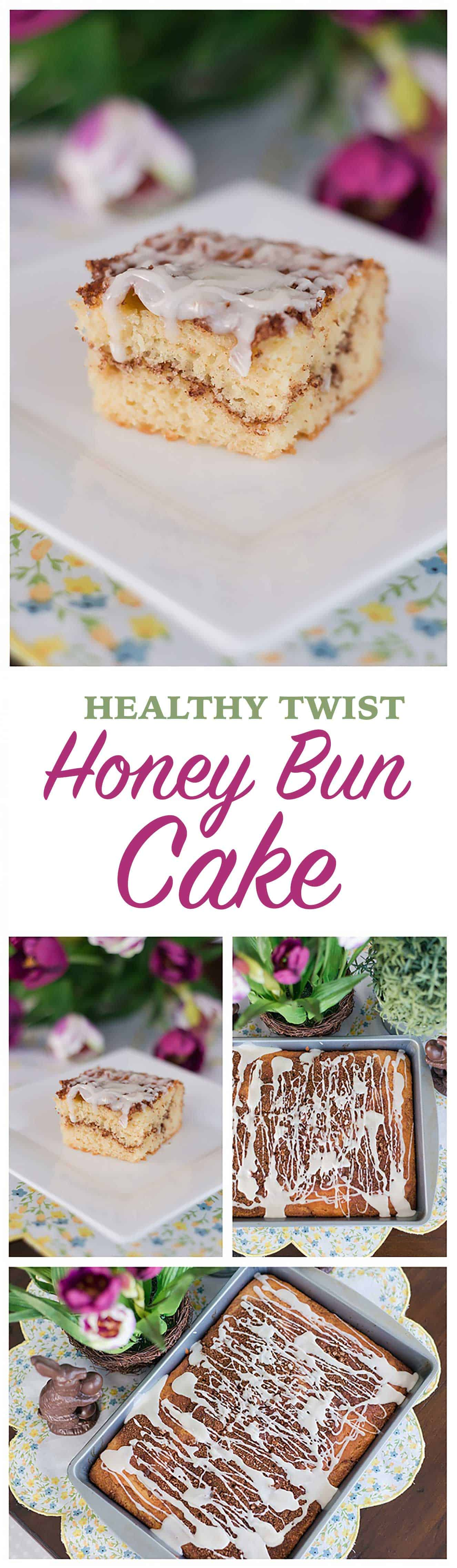 This easy Easter dessert recipe is lightened up thanks to a couple of simple substitutions. Make this guilt-free Honey Bun Cake for #Easter dessert or brunch. So quick and easy the kids can help! #dessert #brunch