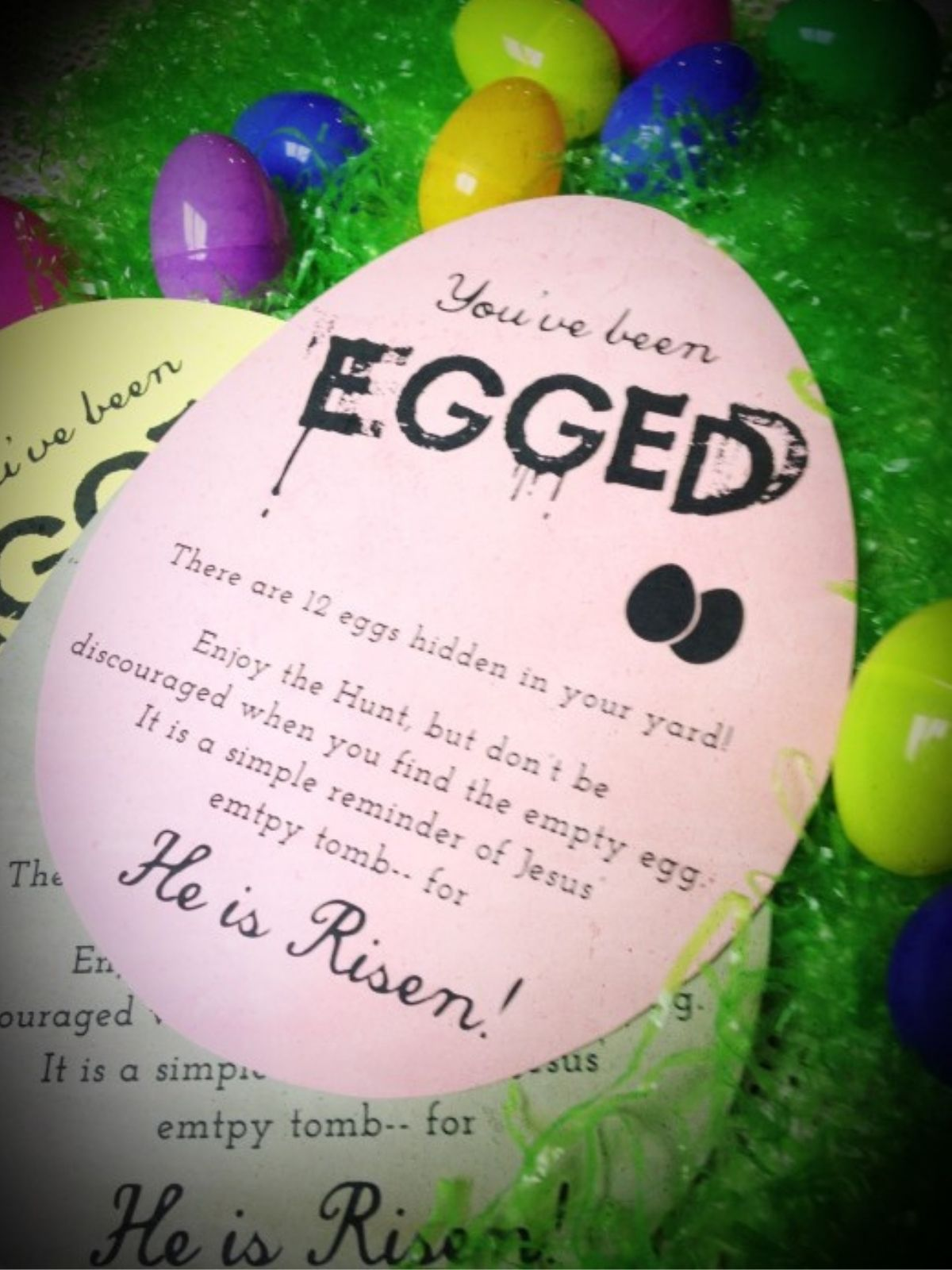 """picture of a """"you've been egged"""" printable to use as a random act of kindness on easter"""