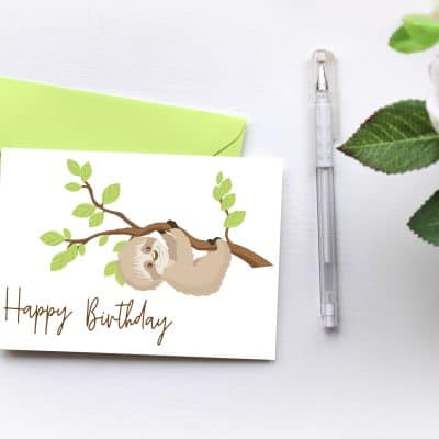 Free Printable Sloth Birthday Card