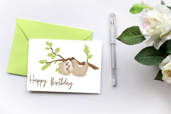 Use this free printable sloth birthday card to make someone's special day even more special. Makes a great belated birthday card printable too!