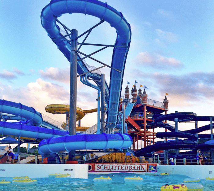 blue waterslide with drop master blaster