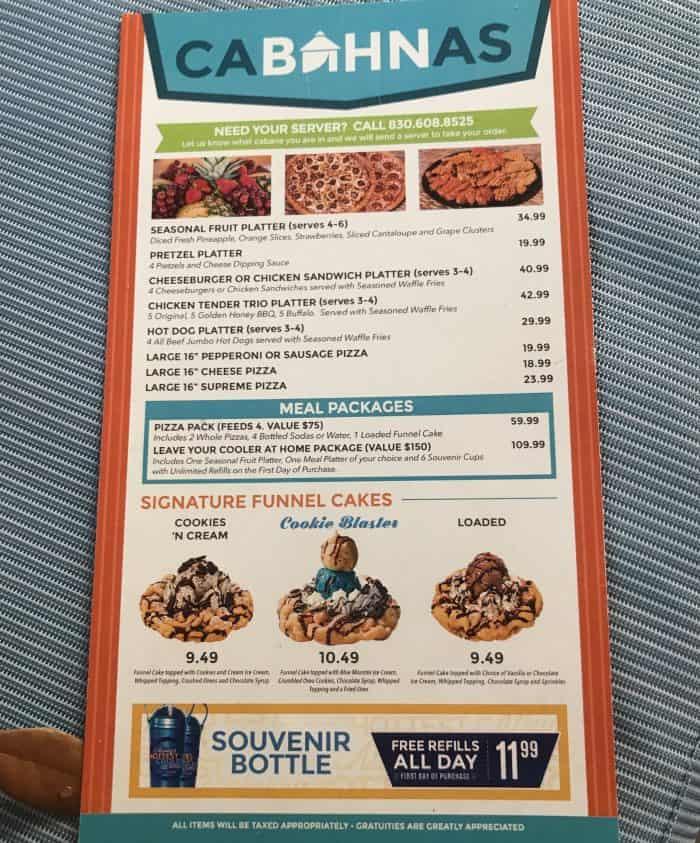 Schlitterbahn cabanas menu
