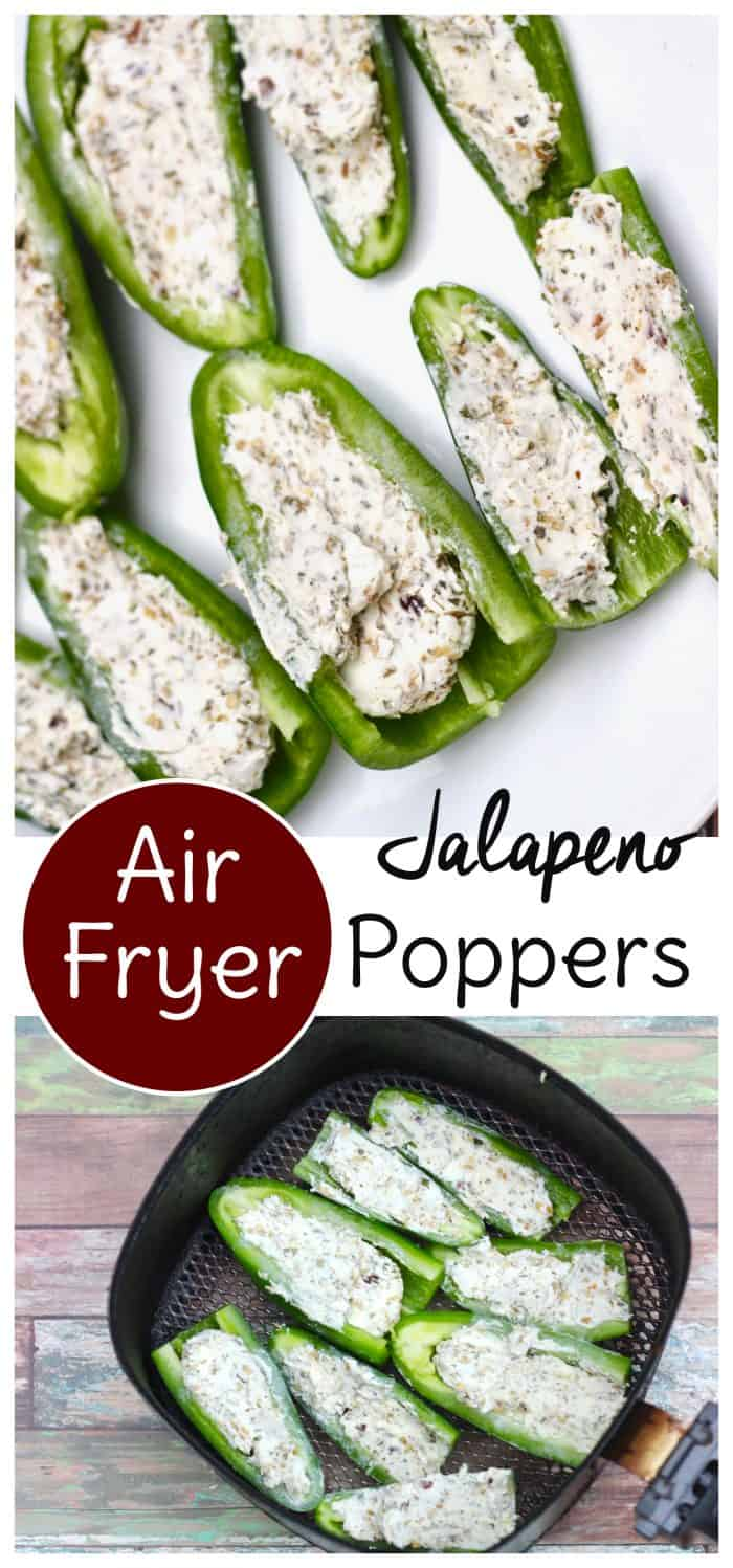 These keto jalapeno poppers cook up quickly in the air fryer or oven! Use three simple ingredients to have them on the table in minutes. #keto #airfryer #glutenfree