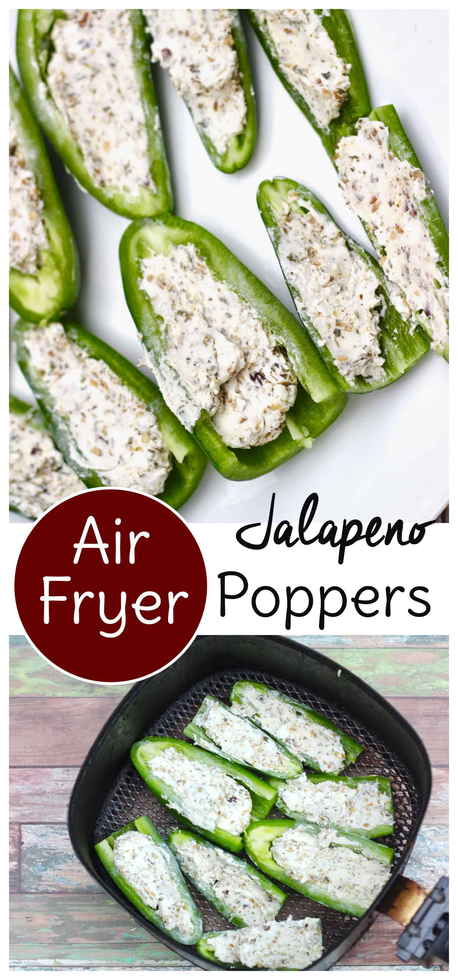 These Air Fryer jalapeno poppers are keto and gluten free! Use three simple ingredients to have them on the table in minutes. #keto #airfryer #glutenfree