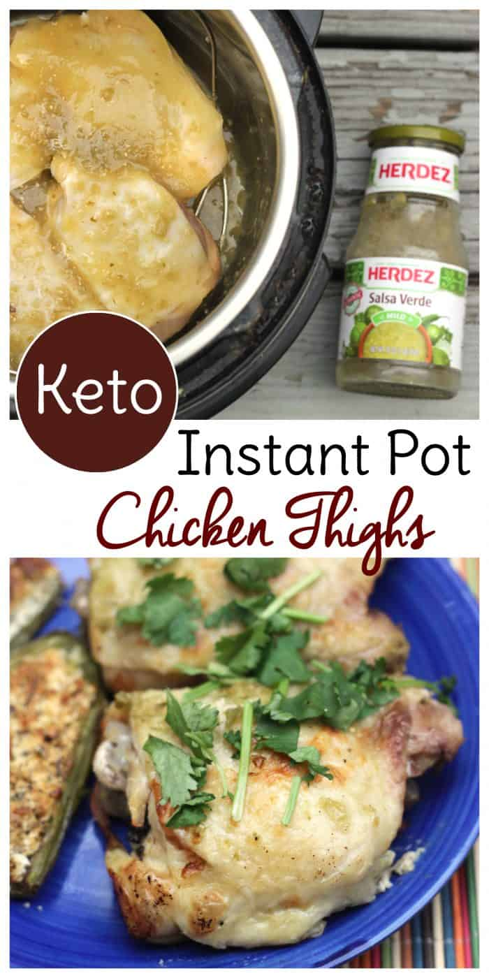 chicken thighs cooked in an instant pot with salsa verde