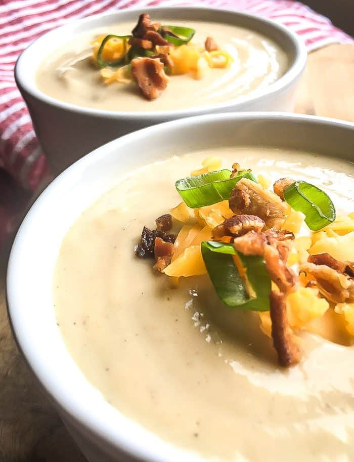 keto instant post cauliflower soup recipe with toppings in a bowl