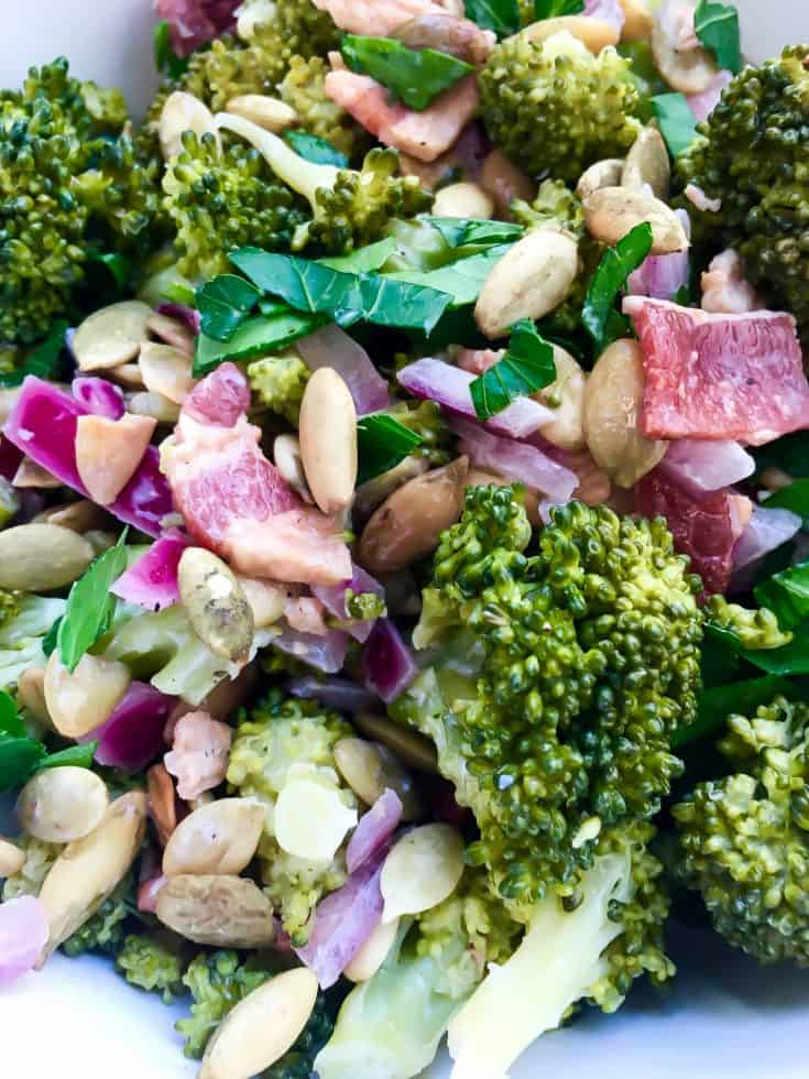 Low Carb Broccoli Salad with Bacon and Pumpkin Seeds