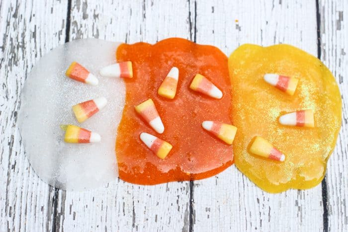 Fun and easy candy corn slime for Halloween or fall. No Borax.