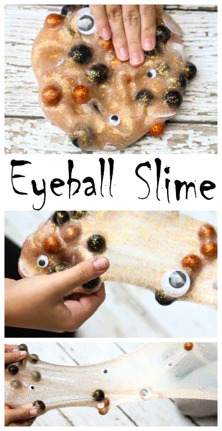 Learn how to make Halloween slime with this Spooky Eyeball Halloween Slime. It has just two ingredients. No Borax, just lots of fun! #slime #halloween #kidsactivities