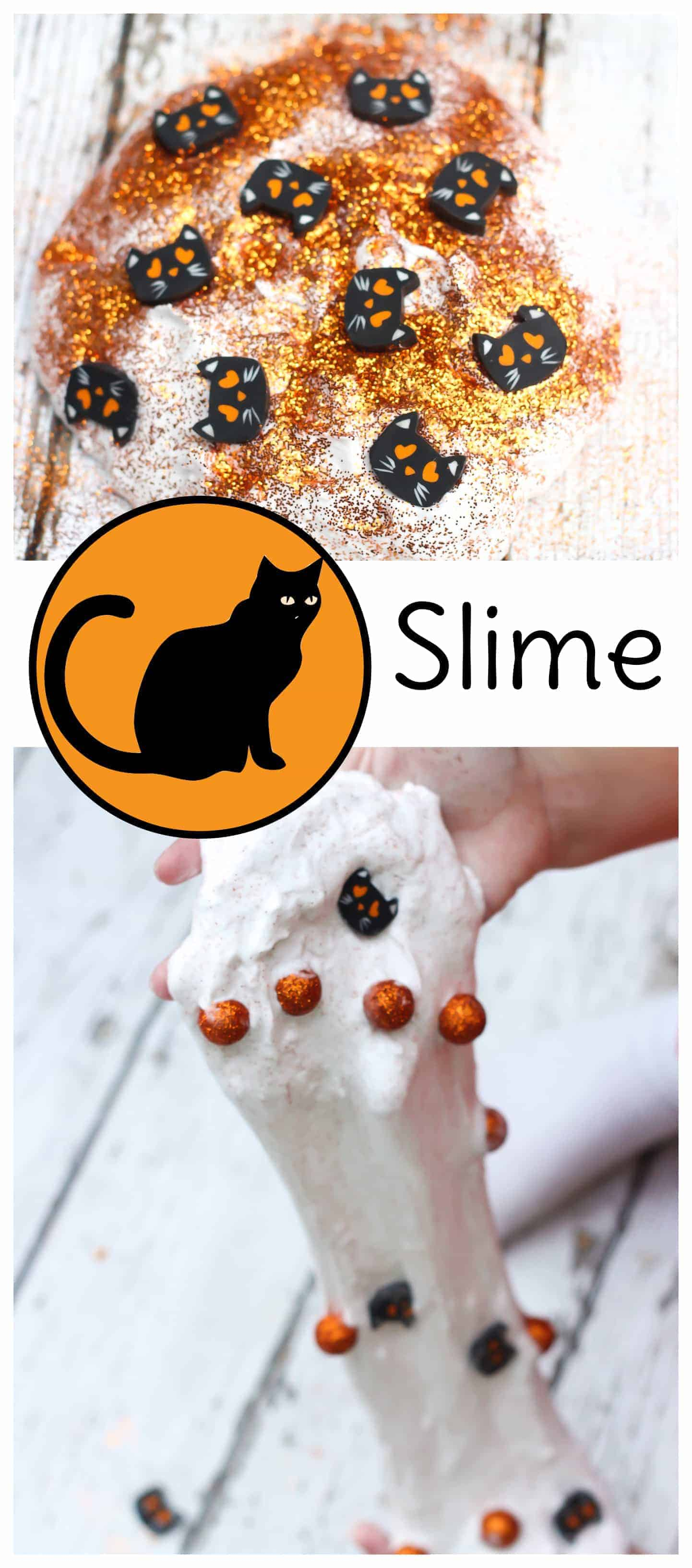 Fun, cheap, and easy kids activity for Halloween: Black Cat Slime! #slime #kidsactivities #halloweencraft #halloween