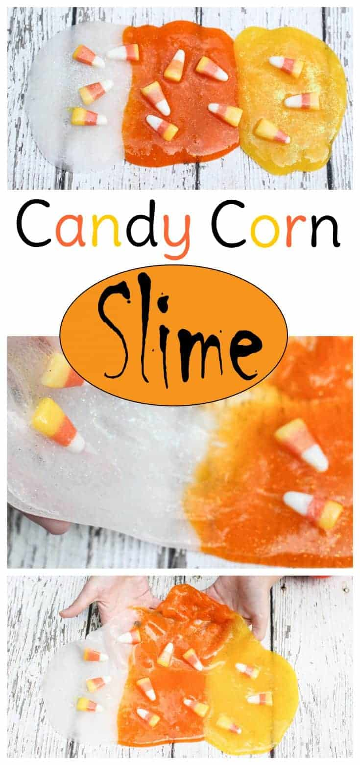 Fun and easy candy corn slime for Halloween or fall. No Borax. #halloween #slime #kidsactivities