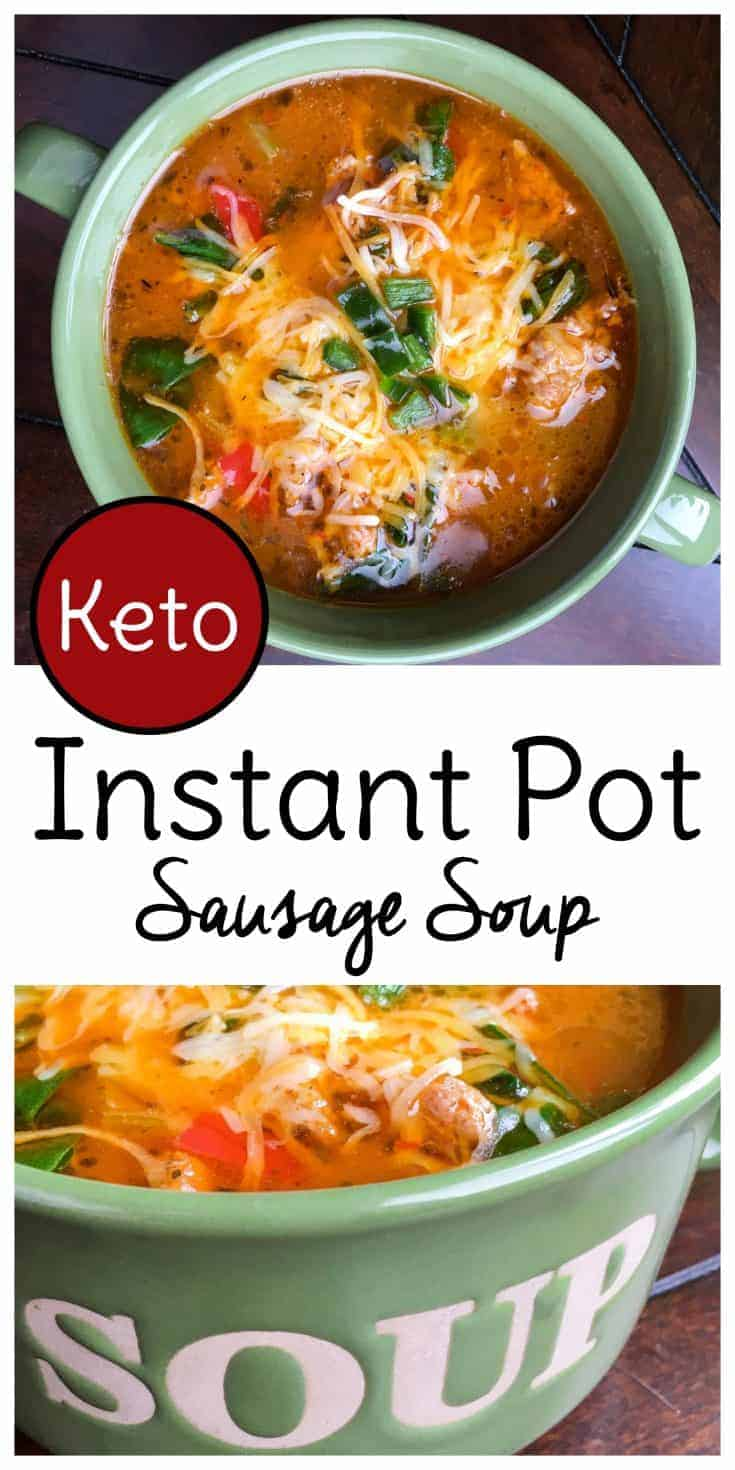 This keto Instant Pot Sausage Soup is winter comfort food at it's finest. Low carb and high flavor!