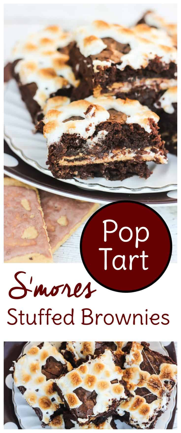 These S'mores Pop Tart Stuffed brownies are a rich, decadent dessert recipe that's also incredibly easy to make. #chocolate #smores #brownies