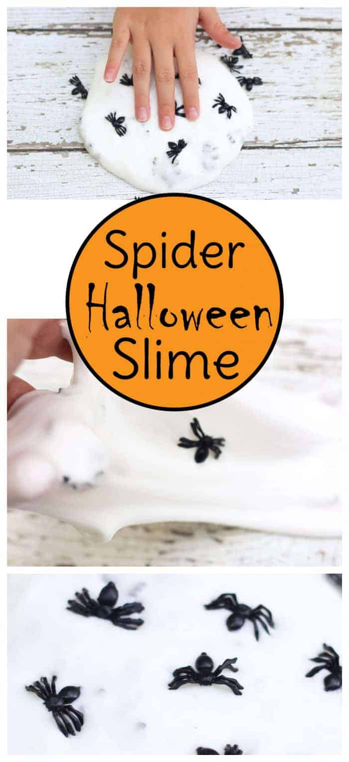 This spooky spider Halloween slime recipe uses only 2 ingredients and couldn't be easier to create. It's perfect for Halloween party favors or class goody bags. #halloween #slime #kidsactivities