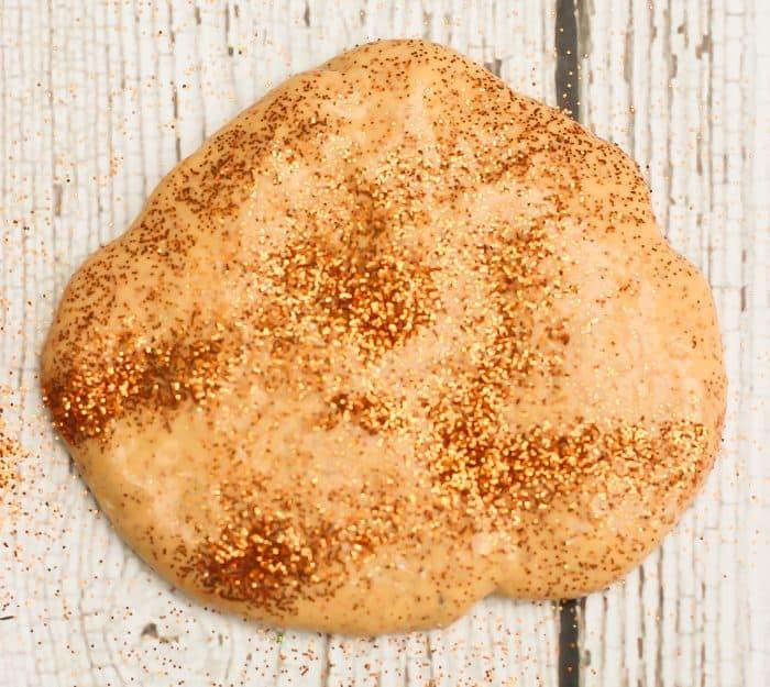 pumpkin pie slime with glitter