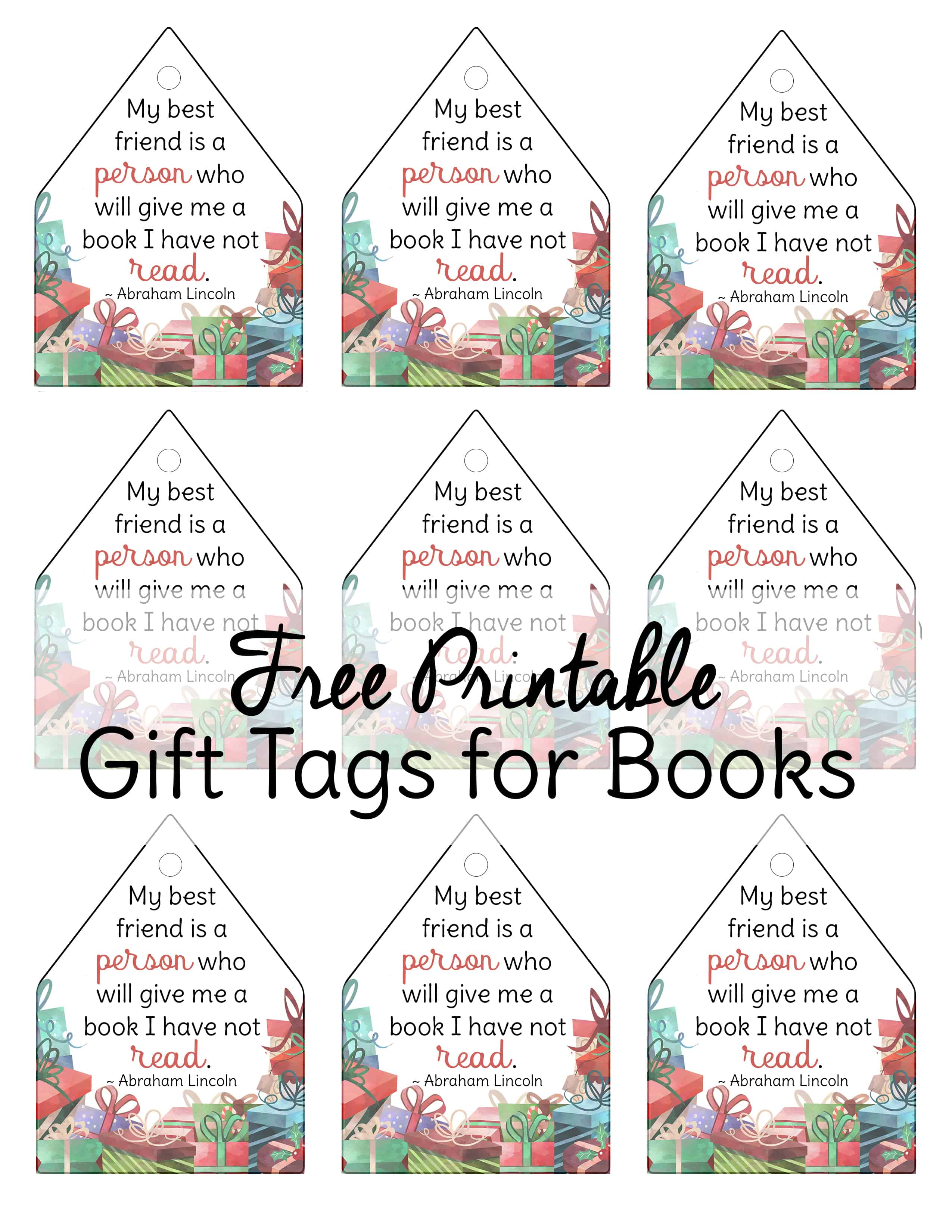 Free printable gift tags for books! Perfect if you do a book and pajamas with your kids on Christmas Eve as a tradition or if you're giving a gift to a book lover. #christmas #gifttags #freeprintable