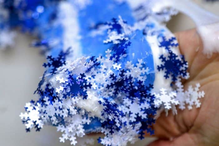 blue and white snowflake slime