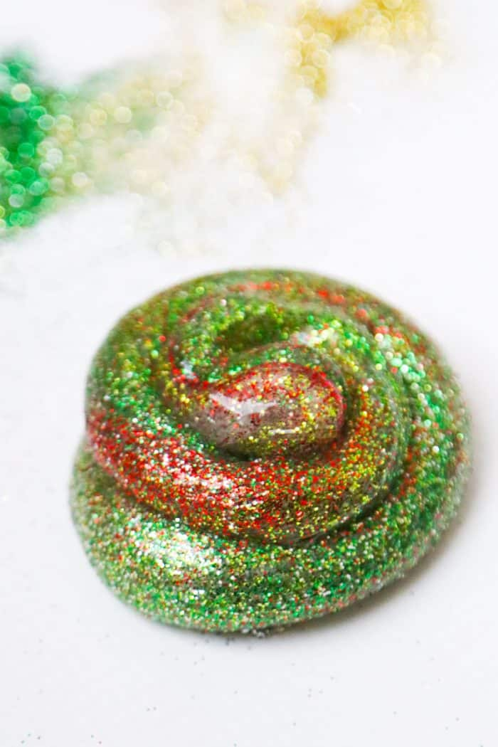 christmas slime recipe red green gold silver clear