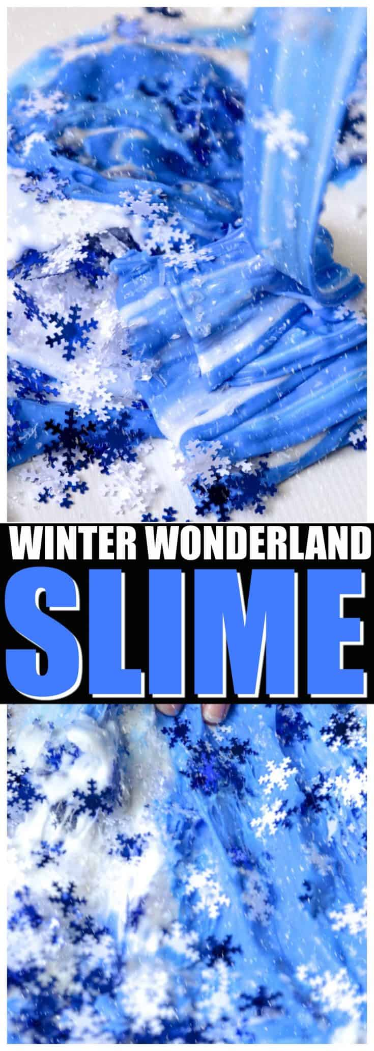 Make this snowflake Frozen slime with paint for vibrant color! Fun activity for Christmas break or a Frozen birthday party. #slime #sensoryplay
