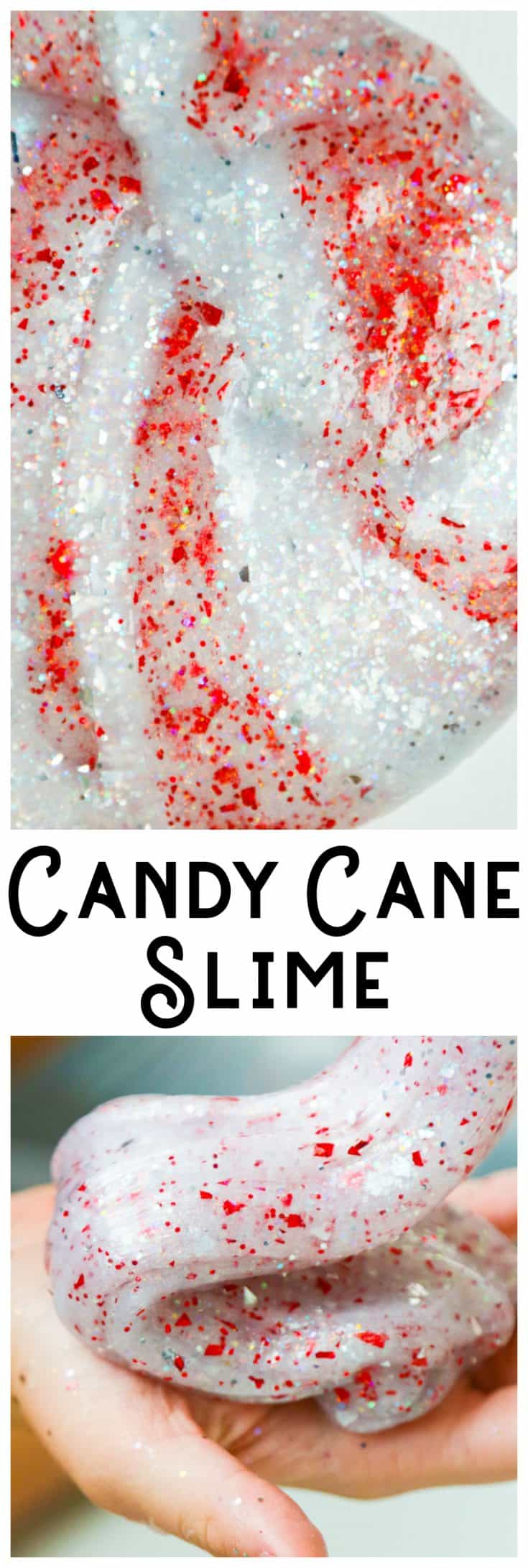 Candy Cane slime! Perfect Christmas slime that's easy to scent with a drop or two of peppermint essential oil. #slime #christmas