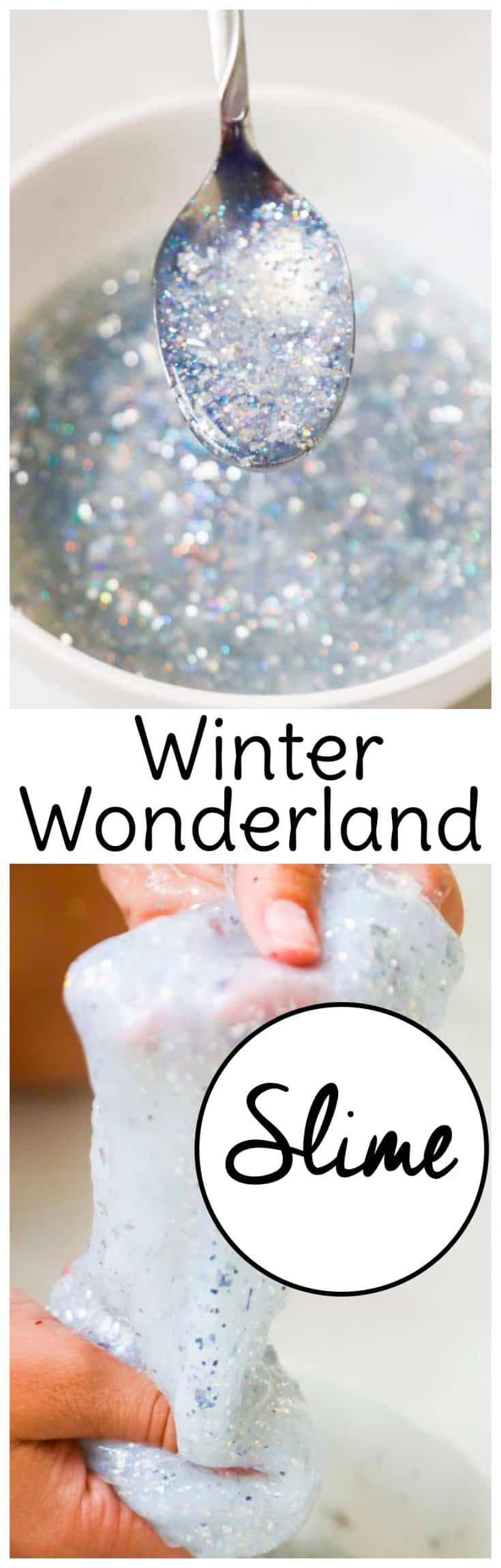 Glitter paint gives this cute slime recipe for winter an extra special sparkle. Just like Elsa! #frozenslime #slimerecipe