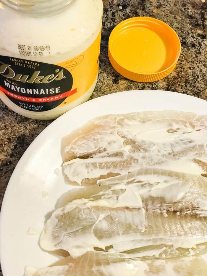 Tilapia with mayonnaise