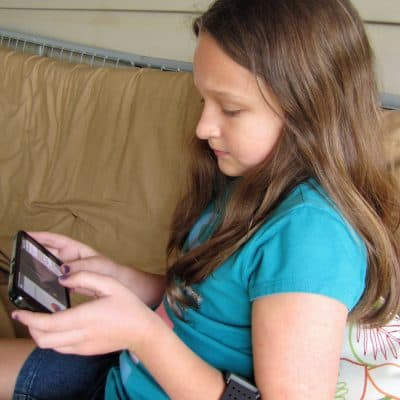 child playing a biofeedback game for emotional self-regulation