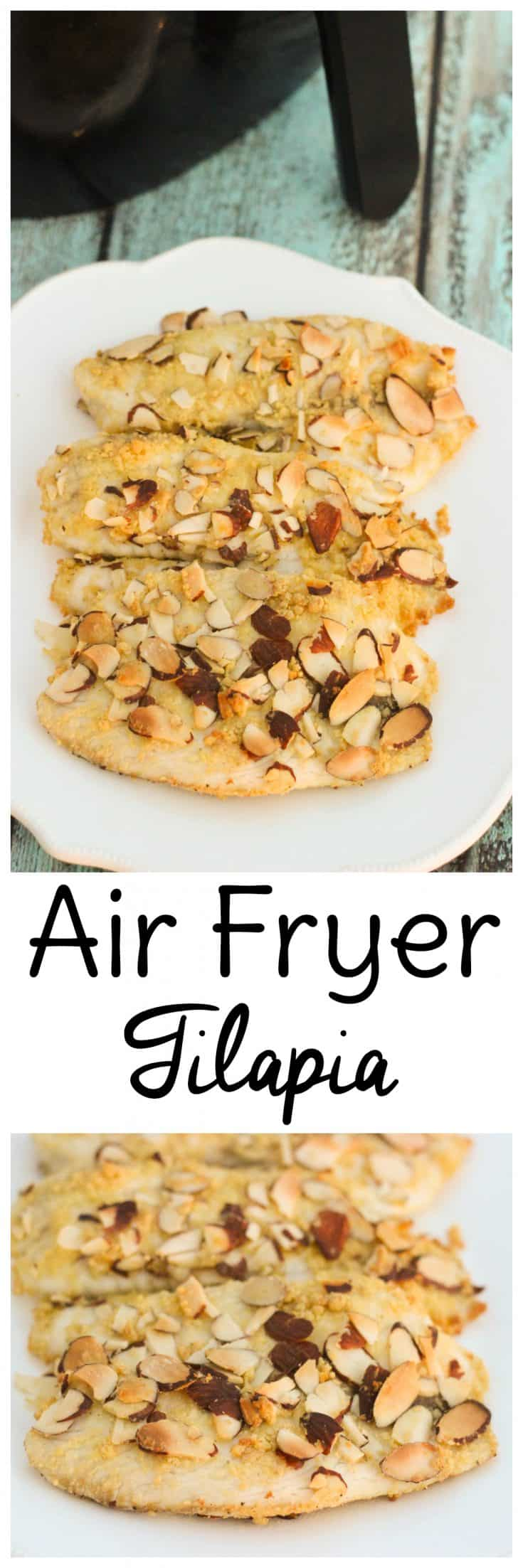 Air fryer fish recipes tend to come out with a perfect, flaky texture in a short amount of time. Try this air fryer tilapia the next time you need to get a flavorful, nutritious dinner on the table quickly that's gluten-free and easily adaptable for paleo diets. #glutenfree #airfryer #paleo