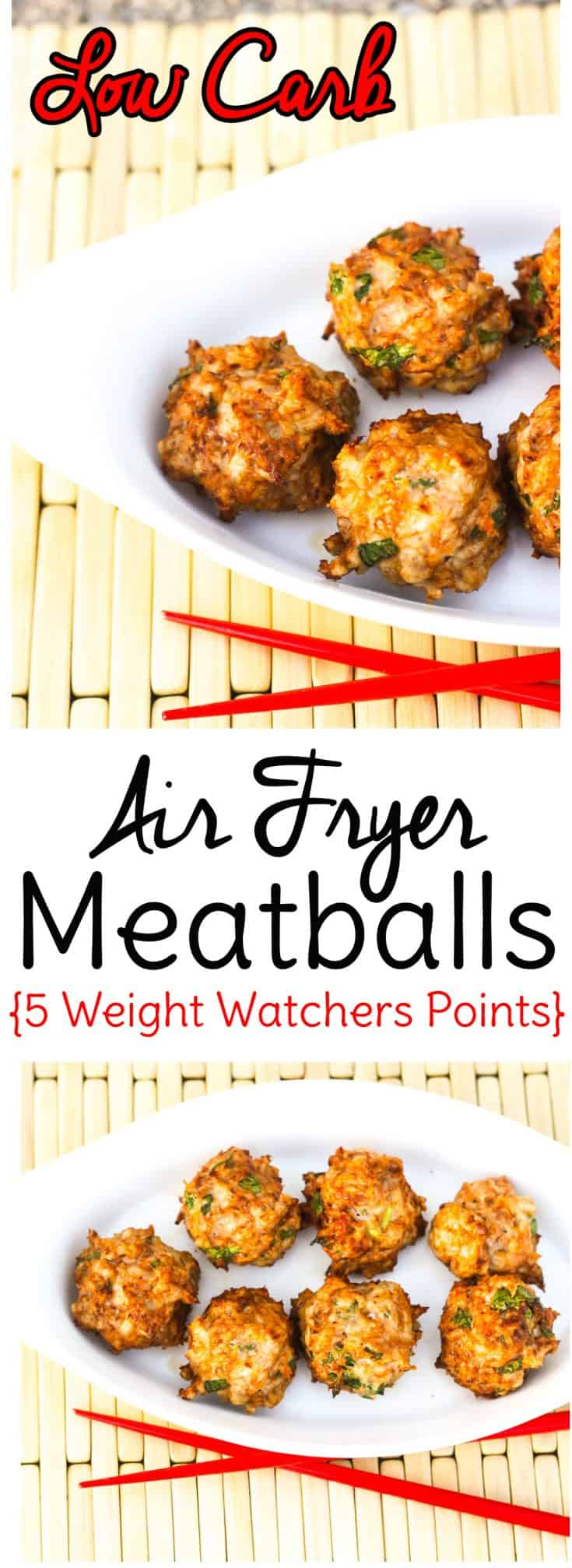 Make low carb meatballs in the air fryer with this simple recipe. Only 2 carbs per serving and 5 Weight Watchers points! #lowcarb #keto #airfryer #weightwatchers