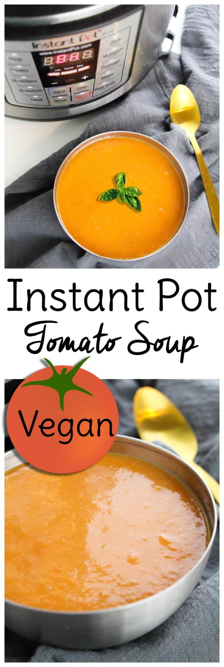 Vegan Tomato Soup: This vegan Instant Pot soup recipe will give you a dinner so delicious even carnivores will love it! Use fresh tomatoes or canned. #veganinstantpot #instantpotsoup