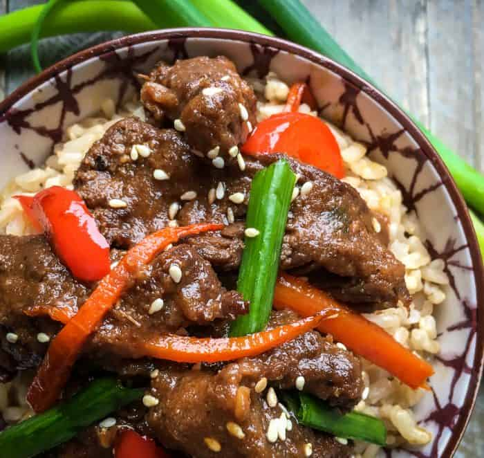 instant pot mongolian beef recipe served over brown rice