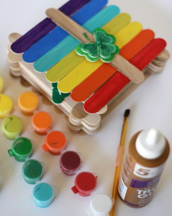 rainbow leprechaun trap made with popsicles