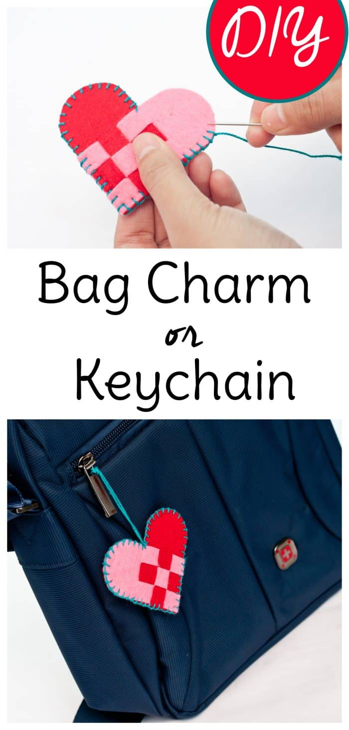 This DIY bag charm makes a cute heart craft for Valentine's Day or just for fun. All you'll need is felt and crochet thread to complete this easy craft that also makes a cute keychain DIY. #keychainDIY #heartart