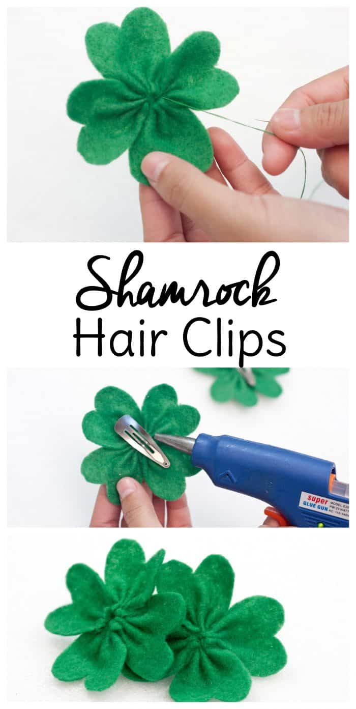 Don't get pinched this year for not wearing green! These shamrock DIY hair bows are a fun way to make St. Patrick's Day crafts AND slip a little green in your wardrobe for March 17th. #stpatricksdaycrafts #diyhairbows