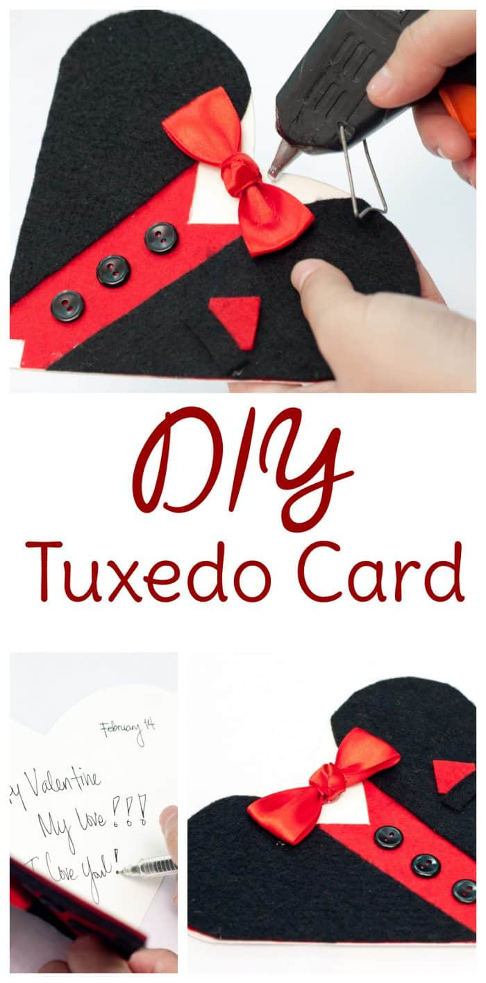 diy valentine card tuxedo with free printable heart template pattern