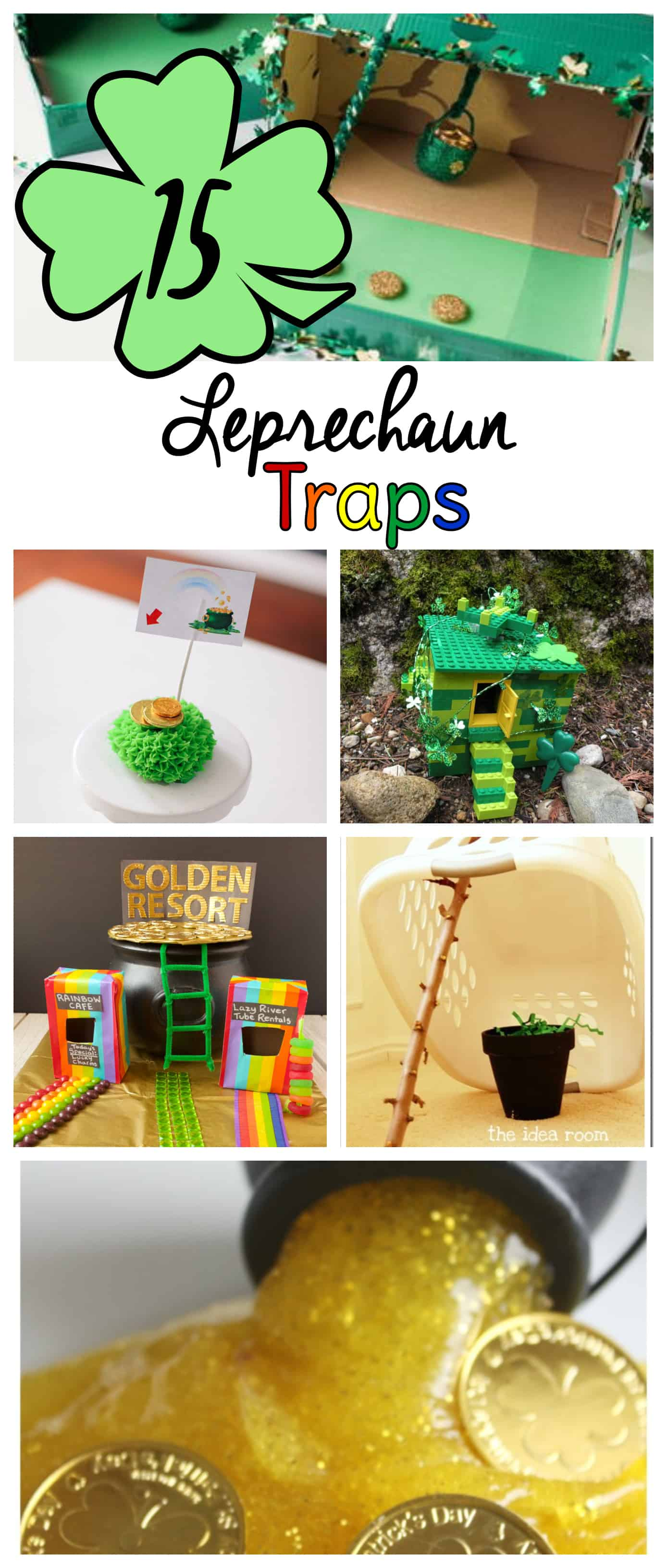 What is a leprechaun trap? The idea it to catch a leprechaun by luring him with gold (or maybe Lucky Charms) into your trap. A leprechaun trap can be made from anything from a shoe box to a donut.  Learn how to make a leprechaun trap with these 15 ideas to get you started. #leprechauntrap #stpatricksday