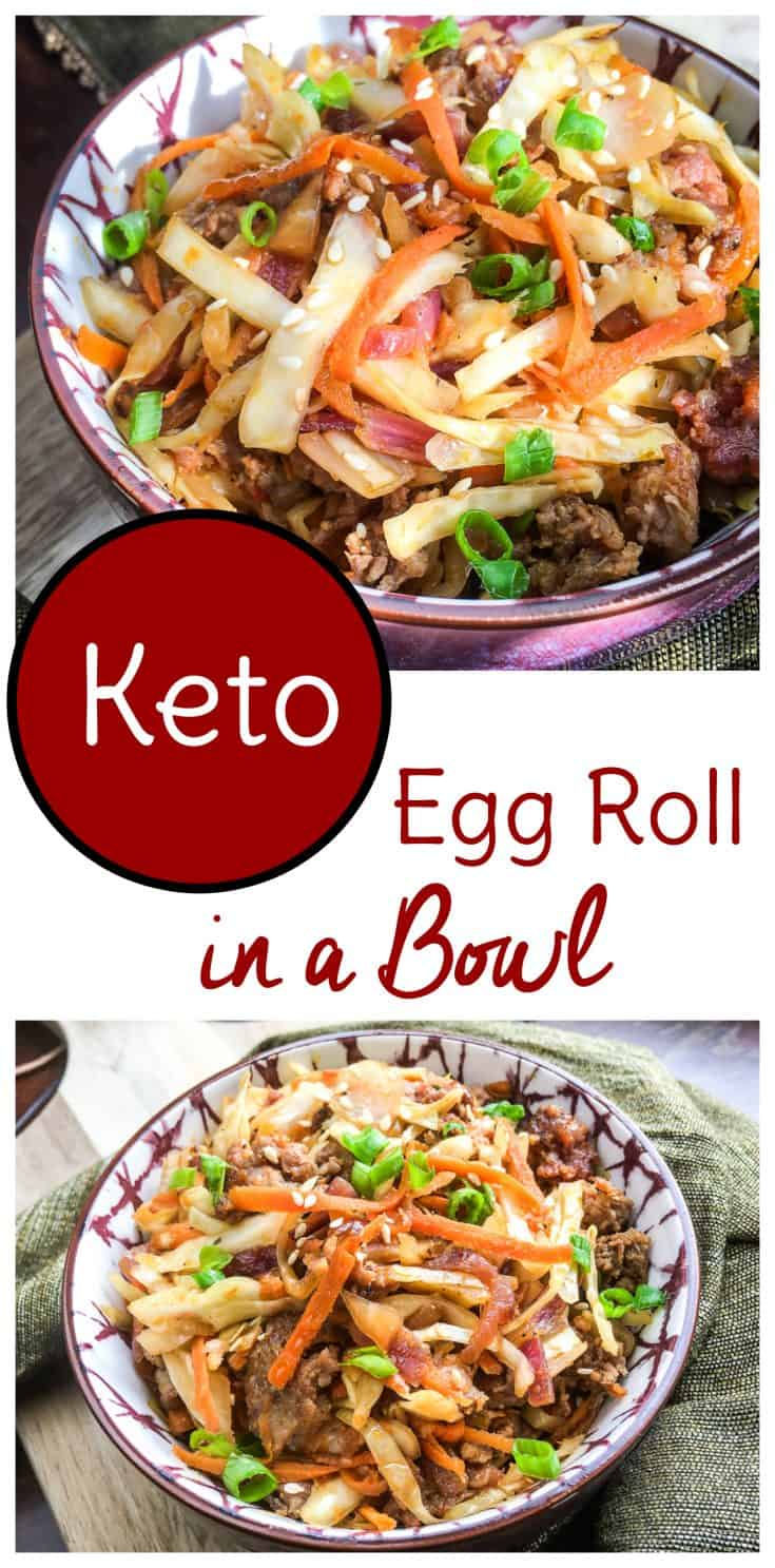 Keto dieters, enjoy your egg roll without the carbs with this sausage low carb egg roll in a bowl recipe #keto #lowcarb #eggrollinabowl