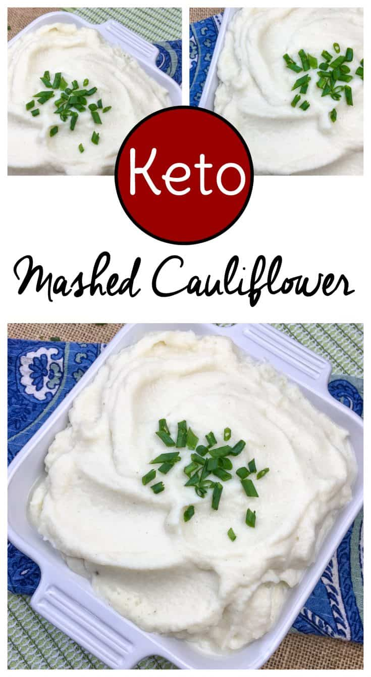 Cauliflower recipes are a great way to add veggies to your diet when you're eating keto or low carb. This keto cauliflower mashed potatoes recipe combines garlic and chives for a flavorful mashed cauliflower keto option. #cauliflowerrecipes #ketorecipes