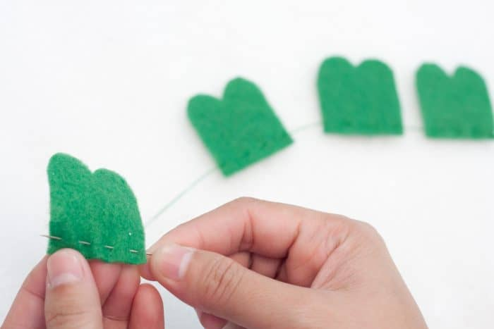 stitching felt shamrock leaves together