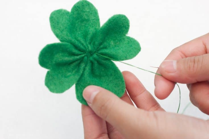 finishing the shamrock for the hair clip