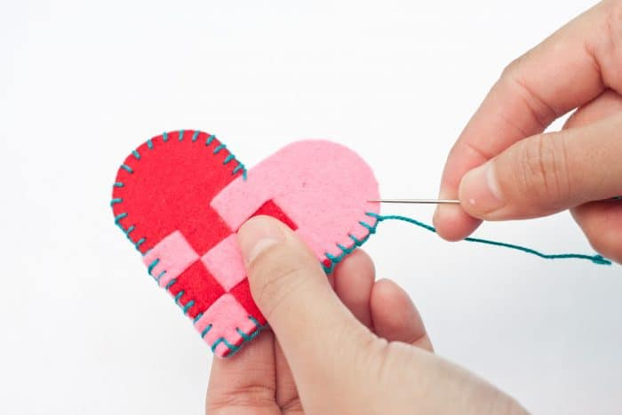 blanket stitch on felt heart